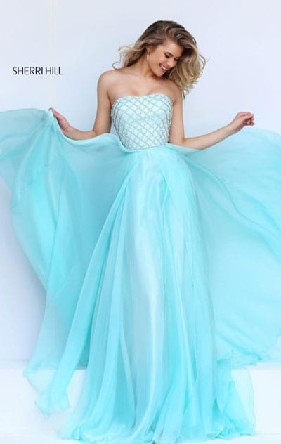 2016 Straight Neckline Beaded Patterned Strapless Light Blue Long Chiffon Prom Dresses